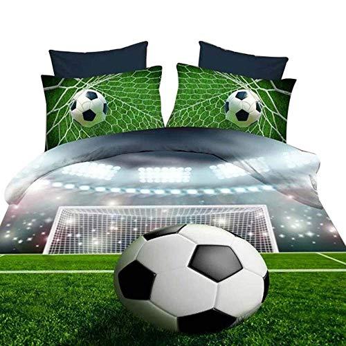 3D Soccer King Double Size Bettwäsche Set Bettdecke Bettbezug Kissenbezüge Neu
