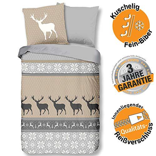 Aminata Kids Weihnachten Biber Bettwäsche Elch 135x200 cm + 80x80 cm aus Baumwolle mit Reißverschluss, unsere Kinderbettwäsche mit Hirsch-Motiv ist weich und kuschelig, grau, beige
