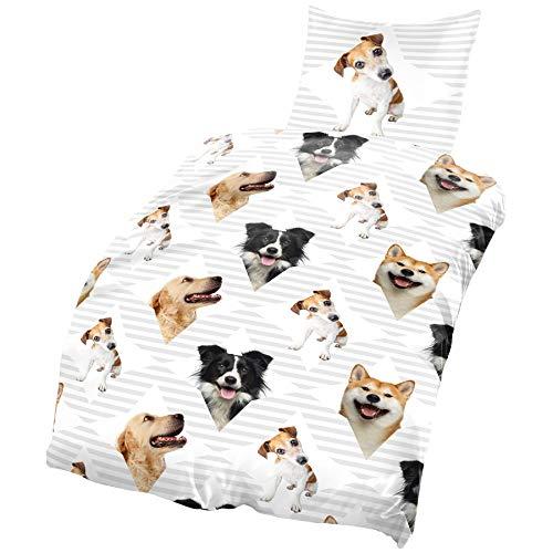one-home Hunde Bettwäsche 135x200 cm Dogs grau weiß Microfaser B-Ware Set 2 teilig