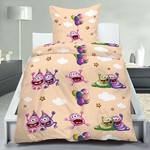 KiGaTex Bettwäsche Kinderbettwäsche Microfaser Gute Laune Monster 135x200+80x80 cm (beige)