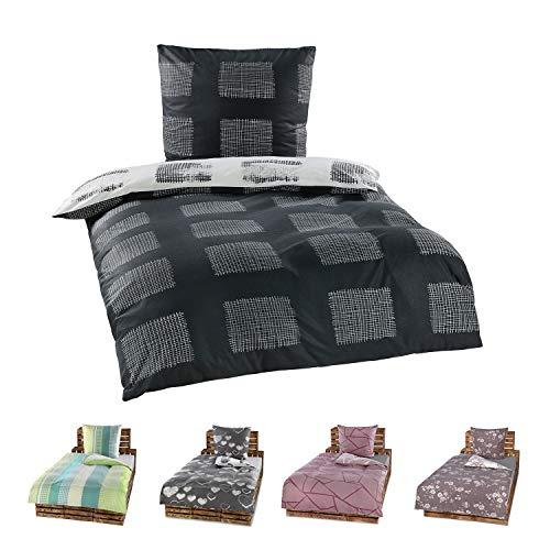 Niceprice 4 Teilige Winter Bettwäsche Set Fleece Flausch in 20 modernen Designs in 4 Größen 135x200-155x220-200x200-200x220, Jascha 135x200