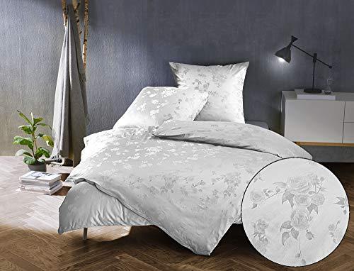 Bettwaesche-mit-Stil Mako Satin Jacquard Damast Bettwäsche Zoé Rose - weiß - 135x200 + 80x80 cm