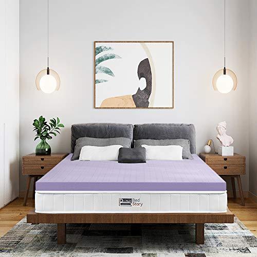 BedStory Topper aus 100% Rein Memory Foam 180x200x5cm, Viskoelastische Matratzenauflage für unbequeme Betten/Matratze/Boxspringbett, Premium H2 atmungsaktiv Matratzentopper Lavendelöl