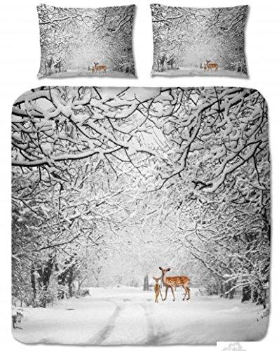 Aminata Kids Biber Bettwäsche REH Bettbezug 220x240 cm + 2X Kopfkissen 80x80 cm aus Baumwolle mit Reißverschluss, schöne Paar-Bettwäsche mit Rehkitz-Motiv in blau grau