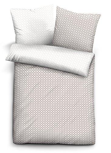 biberna Mix & Match Bettbezug, Abdeckung mit Reißverschluss, Grafik-Motiv Bettwäsche  Decke, Mako-Baumwoll-Satin, Taupe, 135 x 200 cm, Individuell kombinierbar mit dem Kissenbezug