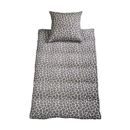 DORIS MEYER Nicky-Velours Bettwäsche Mucca Graphit 1 Bettbezug 135x200 cm + 1 Kissenbezug 80x80 cm