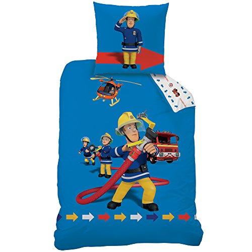 Fireman Sam 045174 Pontypandy Bettwäsche-Set, Baumwolle, blue / beige, 135 x 200 cm