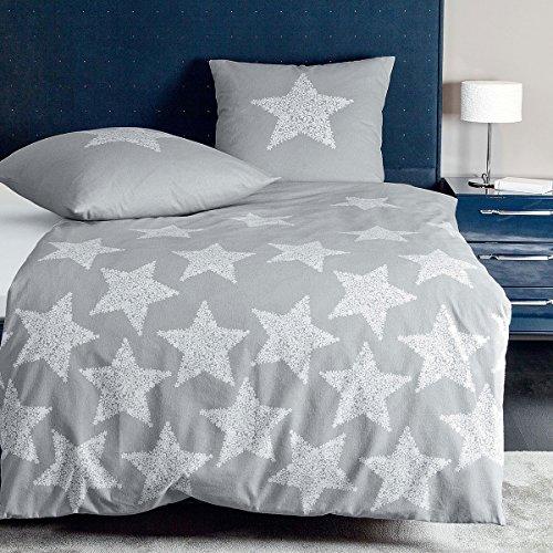 Janine Design Mako-Satin Bettwäsche Palermo Sterne 1 Bettbezug 240 x 220 cm + 2 Kissenbezüge 80 x 80 cm