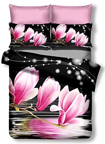 DecoKing 00892 Bettwäsche 200x200 cm mit 2 Kissenbezügen 80x80 schwarz 3D Microfaser Bettbezug Blumenmuster weiß rosa Luludia