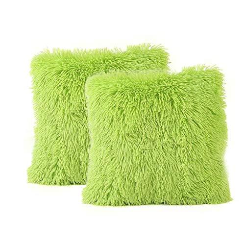 FeiliandaJJ 2er Set Dekorativ Kissenbezug 40x40cm,Einfarbig Plüsch Weich Kopfkissenbezug Kissenhülle,Sofakissenbezüge Pillowcase 16x16 für Couch Wohnzimmer Sofa Bed Auto (Grün)