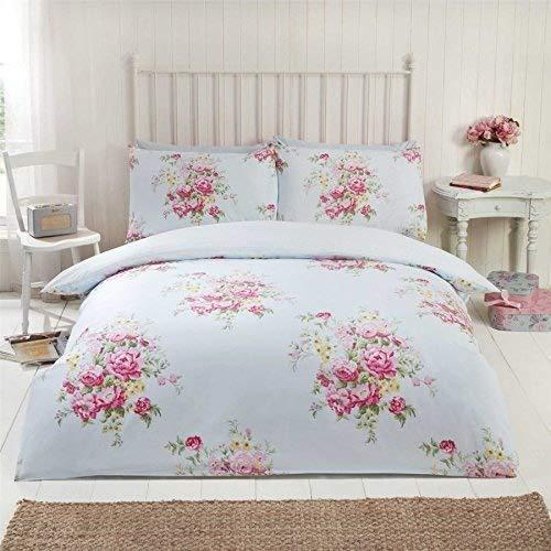 Blumenmuster Rosen Blumen Gepunktet Blaue Baumwolle Mischung Doppel Duvet Cover