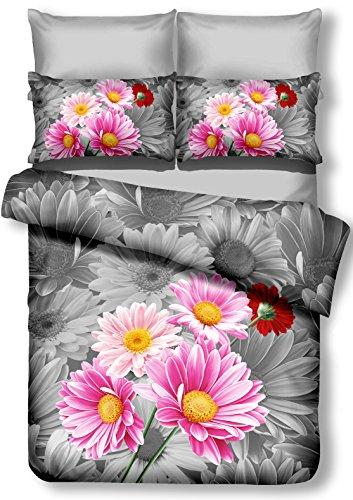 DecoKing 01073 Bettwäsche 135x200 cm mit 1 Kissenbezug 80x80 Amarant 3D Microfaser Bettbezug Blumenmuster rosa Stahl grau anthrazit Urania