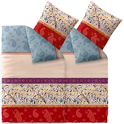 CelinaTex Touchme Bettwäsche 135 x 200 cm 4teilig Baumwolle Bettbezug Biber Megan Ornamente beige blau rot