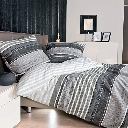 Janine Mako Soft Seersucker uni Bettwäsche 2 teilig 135 x 200 cm PIANO schwarz
