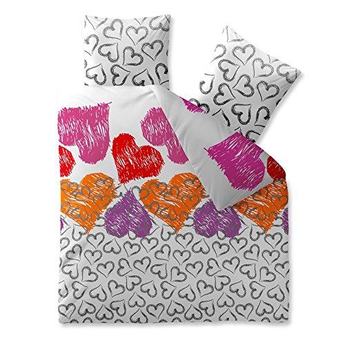 CelinaTex Fashion Bettwäsche 200 x 220 cm 3teilig Baumwolle Mimar Herz Weiß Grau Violett