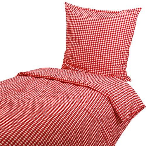 Hans-Textil-Shop Seersucker Hotelbettwäsche 135x200 cm Karo 1x1 cm Rot